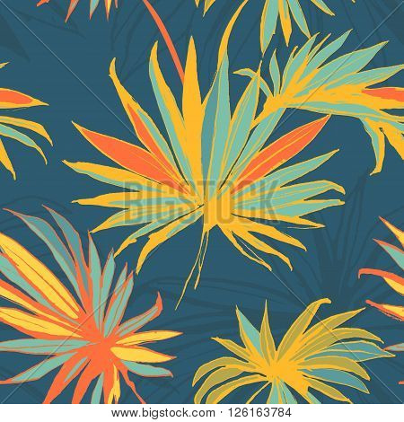 Vector illustration Tropical jungle floral seamless pattern background with palm leaves. Colored ink splatter grunge style.Texture,  background pattern,  seamless pattern, floral pattern, floral background,  floral vector,  floral design,  vintage  patter