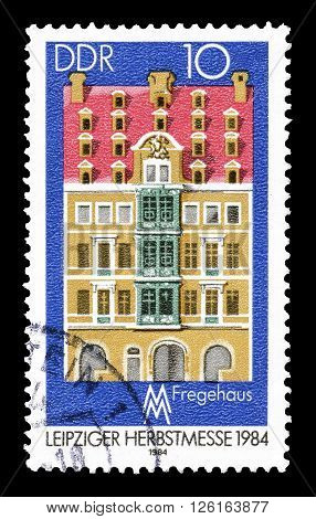 GERMAN DEMOCRATIC REPUBLIC - CIRCA 1984 : Cancelled postage stamp printed by German Democratic Republic, that shows Fregehaus.