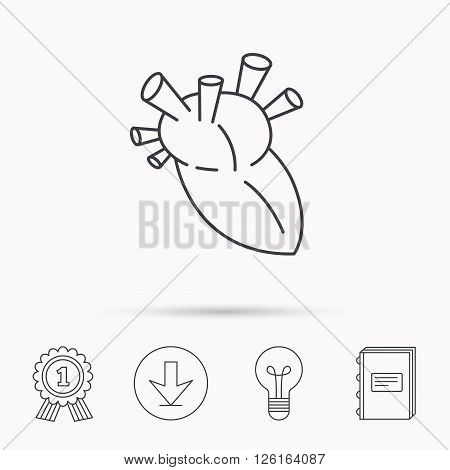 Heart icon. Human organ sign. Surgical transplantation symbol. Download arrow, lamp, learn book and award medal icons.