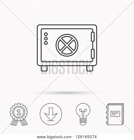 Safe icon. Money deposit sign. Circle handle symbol. Download arrow, lamp, learn book and award medal icons.