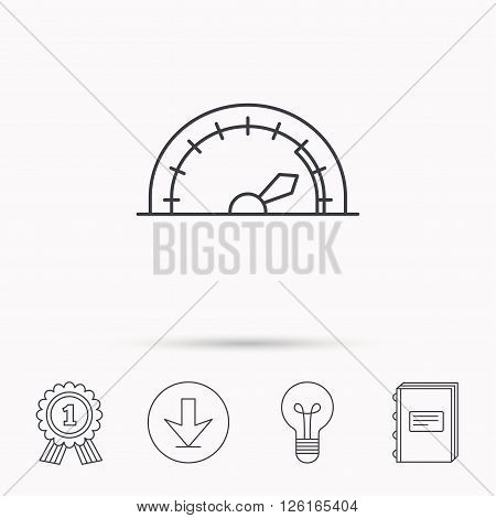 Speedometer icon. Speed tachometer with arrow sign. Download arrow, lamp, learn book and award medal icons.