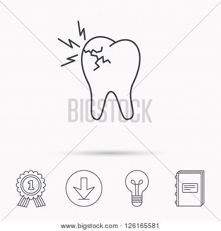 Toothache icon. Dental healthcare sign. Download arrow, lamp, learn book and award medal icons.