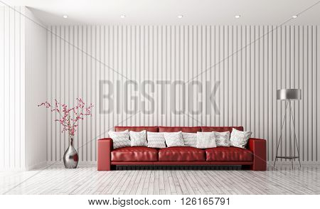 Modern Interior Of Living Room With Red Sofa3D Rendering