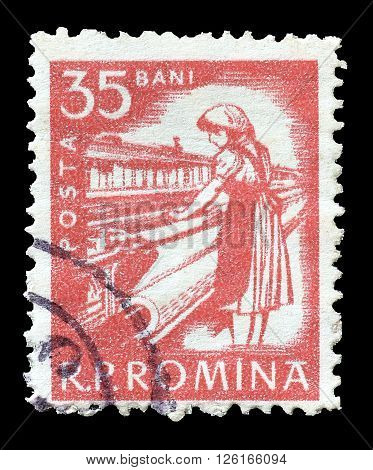 ROMANIA - CIRCA 1960 : Cancelled postage stamp printed by Romania, that shows Textile worker.