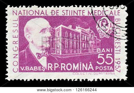 ROMANIA - CIRCA 1957 : Cancelled postage stamp printed by Romania, that shows Victor Babes.
