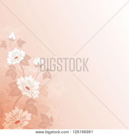 Abstract flower vintage red background with copy space.