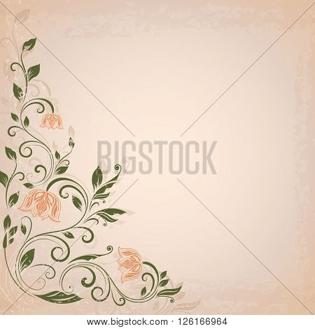 Abstract flower vintage background with beige copy space.