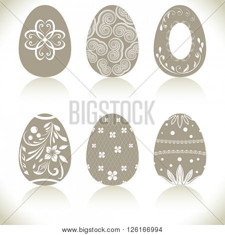 Abstract Easter eggs set with ornaments isolated on white background.