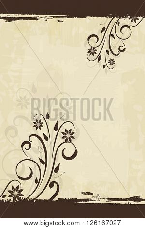 Floral vintage vertical background with copy space.