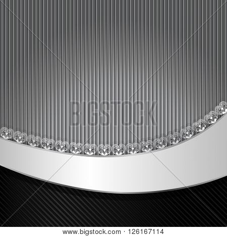 Black and gray striped background with wavy copy space.