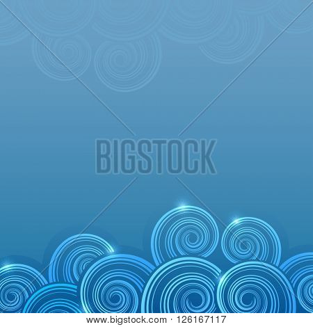 Abstract blue swirly waves background with copy space.