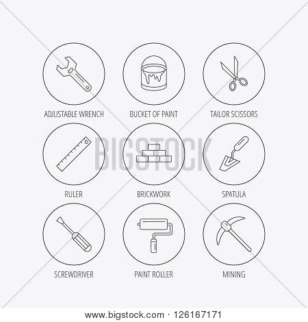 Screwdriver, scissors and adjustable wrench icons. Spatula, mining tool and paint roller linear signs. Brickwork, ruler and painting icons. Linear colored in circle edge icons.