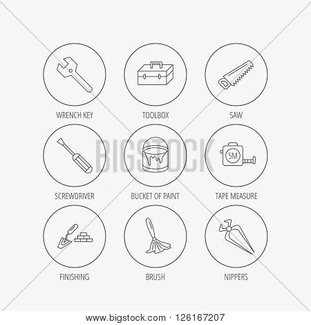Wrench key, screwdriver and paint brush icons. Toolbox, nippers and saw linear signs. Finishing spatula icon. Linear colored in circle edge icons.