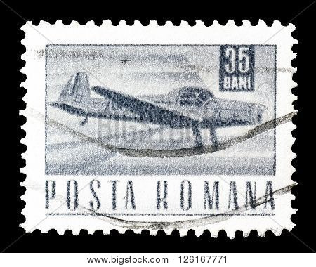 ROMANIA - CIRCA 1968 : Cancelled postage stamp printed by Romania, that shows airplane.
