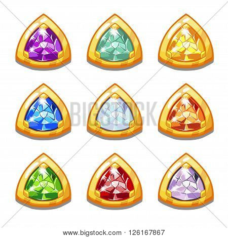 Vector colorful golden amulets with diamonds, triangular shape