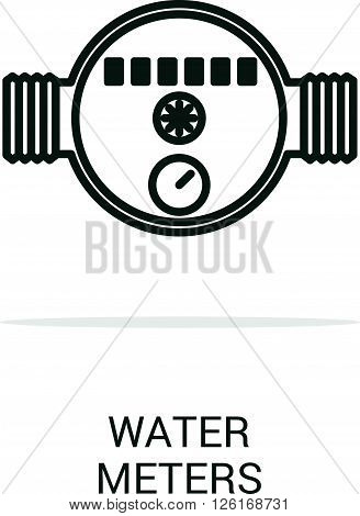 Vector icon water meter. Spare parts and household appliances for the kitchen gas supply water supply modern home.