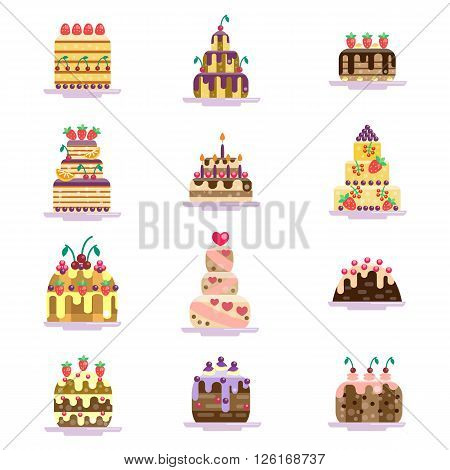 Set of cake icons. Cakes collection. Isolated on white background. Glazed pies with berries, cherry and strawberry. Berry and chocolate pie. Flat vector illustration