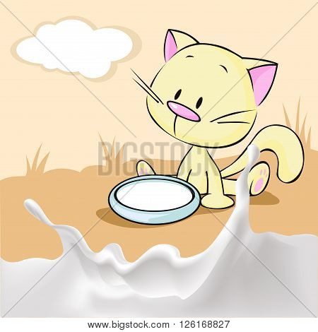 kitten sitting in a bowl with milk - vector illustration
