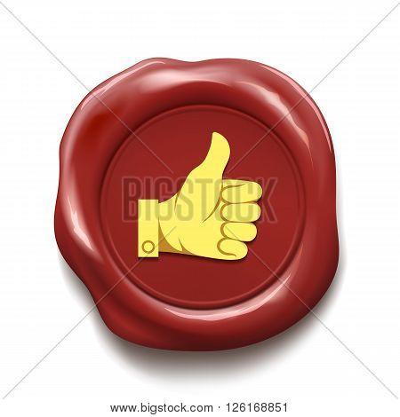 Thumb up on wax seal. Like icon. Stock vector illustration.