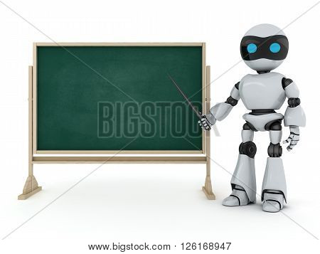 Robot e-learning (done in 3d on white background)