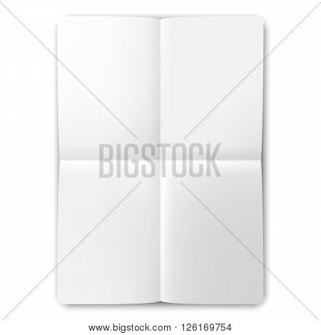 Blank folded two times list of white paper