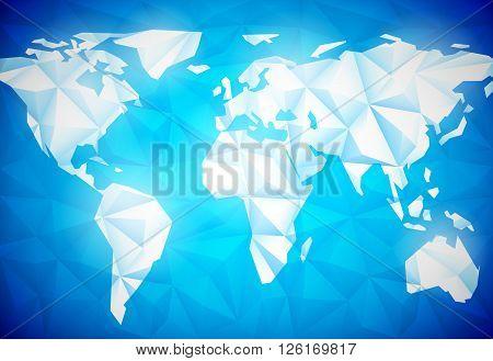 White polygonal world map on blue background