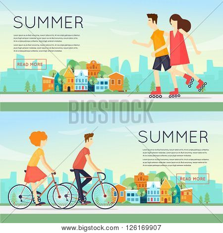 Physical activity people engaged in outdoor sports, cycling, roller skating, summer. Flat design vector illustration. Banners.