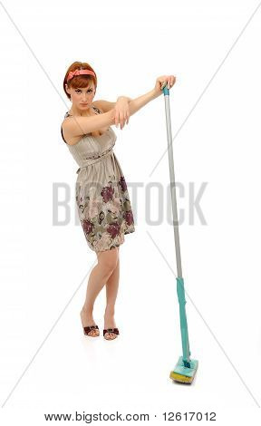 Beautiful Angry House Woman Cleaning The Floor. Isolated On White Background