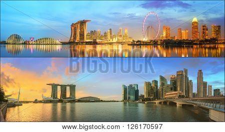 Beautiful cityscape set and collage of Marina Bay, Singapore