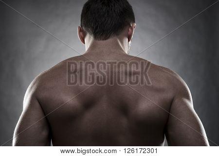 Handsome muscular bodybuilder posing on gray background. Low key studio shot. Sexy male body