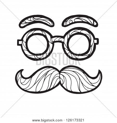 Vector illustration of a hand drawn sketch  male mustache fashionable hipster style, mustache and round glasses