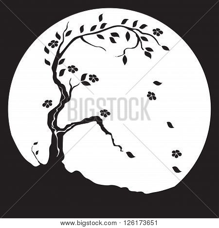 Black and white panels in the Japanese style. Flowering tree growing on the wind blows away the leaves and flowers.
