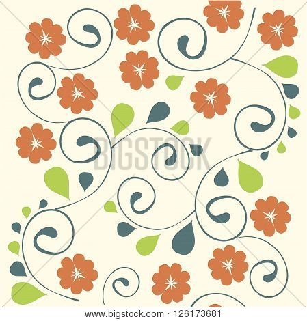 Floral hand drawing background. Red stylised flowers, green and dark blue leafs, vector