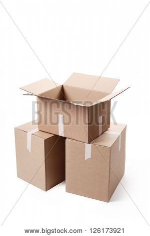 Cardboard boxes on a white background