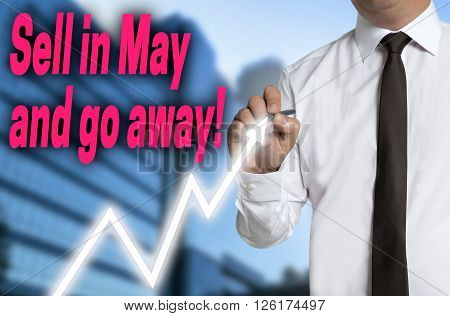 sell in may and go away trader draws market price on touchscreen.
