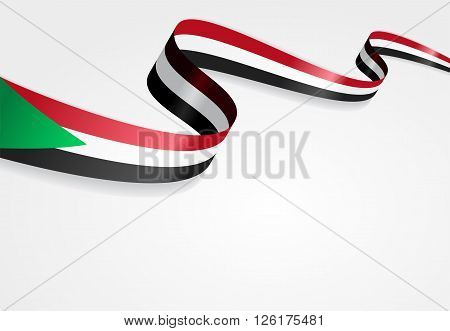 Sudanese flag wavy abstract background. Vector illustration.