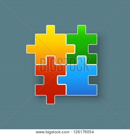 illustration of four didderent shape pieces of puzzle colored