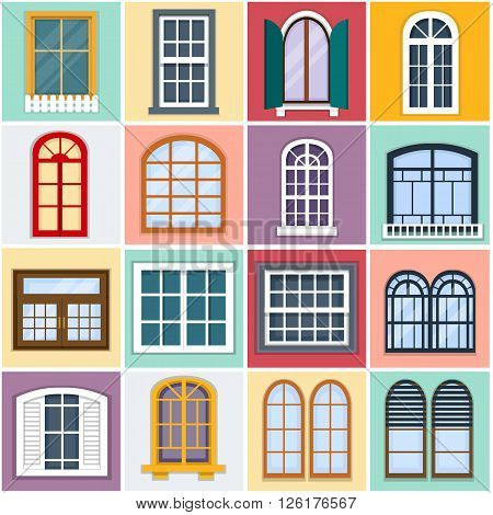 Vector illustration of windows set. Details - window set for constructing house. Flat style. Collection of house constraction. Urban street design