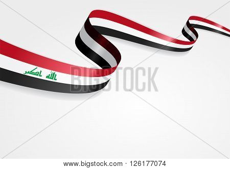 Iraqi flag wavy abstract background. Vector illustration.