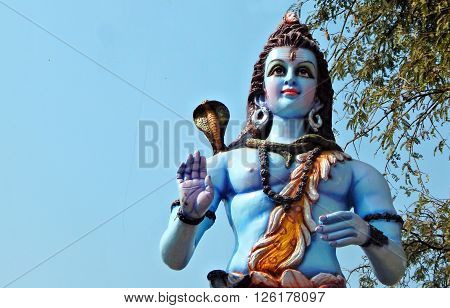HYDERABAD,INDIA-APRIL 15:Idol of Hindu God Shiva on lorry in the procession on Sri Rama Navami celebrations on April 15,2016 in Hyderabad,India.