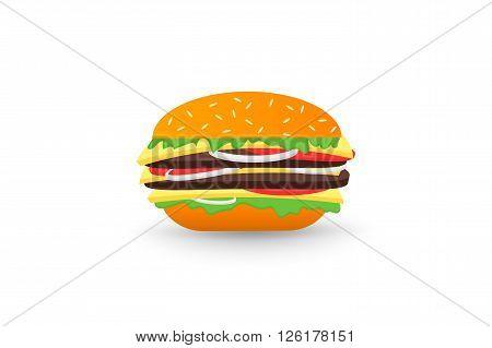 Hamburger, isolated on white background flat 2.0 vector icon