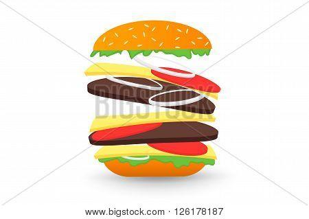 Falling hamburger, isolated on white background flat 2.0 vector icon