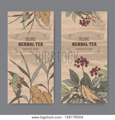 Set of two color vintage labels for ginger and ginseng herbal tea. Placed on cardboard texture.