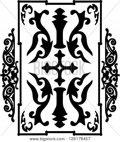 Black Ancient Vintage Ornament On White Background In Style Of Roman War Shield With A Cross. Vector