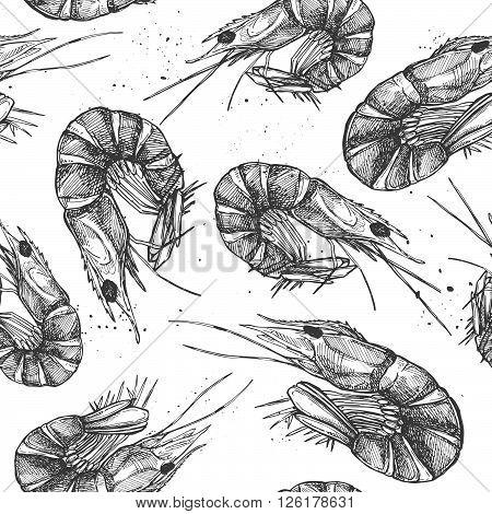 Hand drawn vector illustration - Seamless patterns with shrimp. Vintage