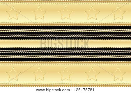 Gold Vintage Pattern And Frame Elements Casino Style With Stars And Swirls On Black Background. Vect