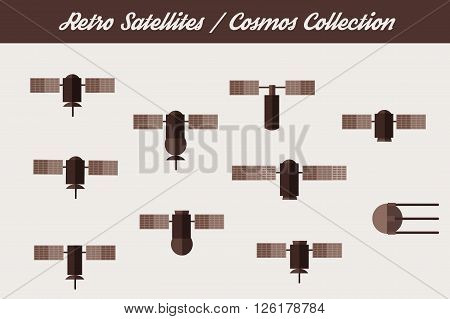Retro vintage Orbit Satellites. Vector icons set.
