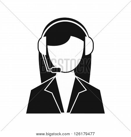Support phone operator in headset icon in simple style on a white background