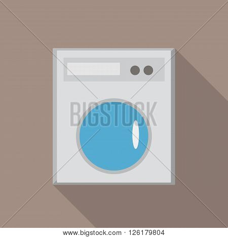 washing machine on a gray background made in flat design