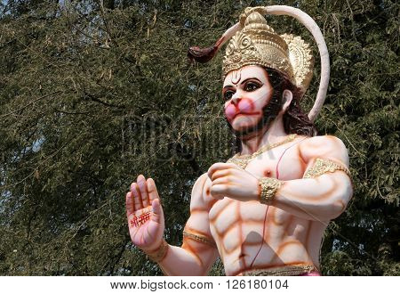 HYDERABAD,INDIA-APRIL 15:Idol of Hindu god Hanuman on lorry transport during procession on Sri Rama Navami festival on April 15,2016 in Hyderabad,India.